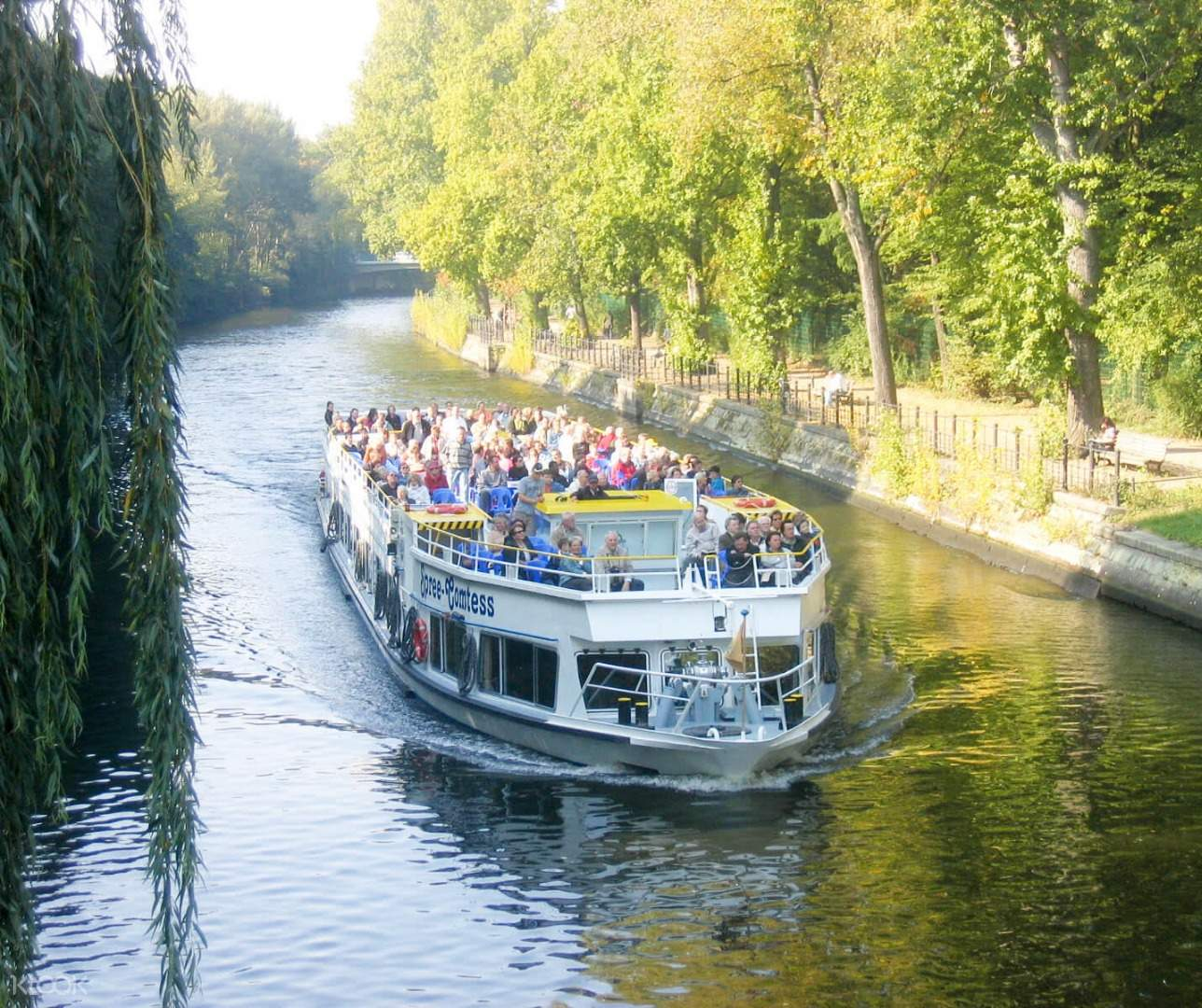 hop-on hop-off sightseeing boat on river spree in berlin